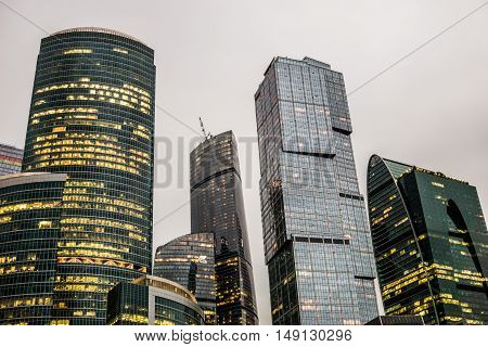 Moscow, Russia - July 2016. Skyscrapers of Moscow city business center in evening.