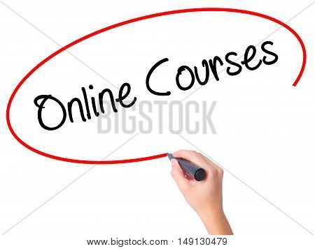 Women Hand Writing Online Courses With Black Marker On Visual Screen