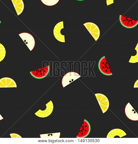 Fruit seamless pattern - vector background. Piece of fruits isolated on black.