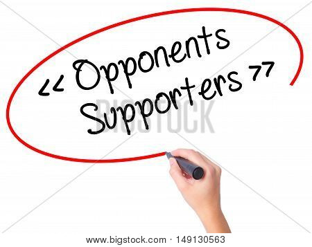 Women Hand Writing Opponents - Supporters With Black Marker On Visual Screen.
