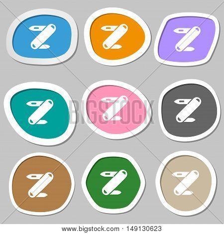Pocket Knife Icon Symbols. Multicolored Paper Stickers. Vector