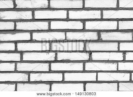 Black And White Brickwork Detailed Texture Background - Stock Photo