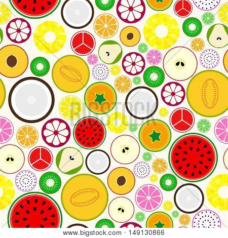 Bright fruit seamless background. You can use any fruit separately for your design and ideas.