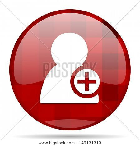 add contact red round glossy modern design web icon
