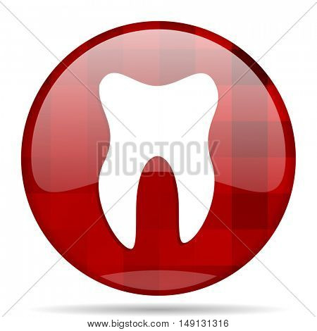 tooth red round glossy modern design web icon