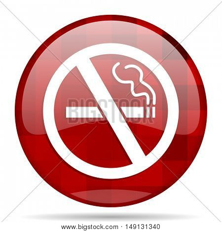 no smoking red round glossy modern design web icon