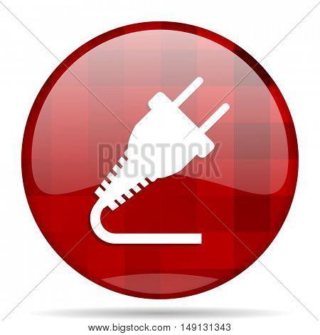 plug red round glossy modern design web icon