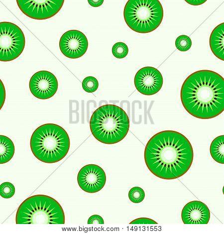 Juicy seamless vector pattern - slices of kiwi.