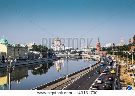 Moscow, Russia - July 2016. Panoramic view to Moscow Kremlin from bridge over Moscow river.