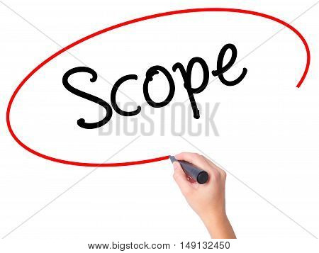 Women Hand Writing Scope With Black Marker On Visual Screen