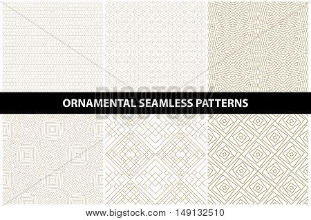 Ornamental patterns - seamless vector collection. Luxury grid patterns - gold design.