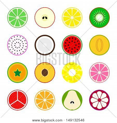 Collection of vector fruit icons. Simple design of main fruits.