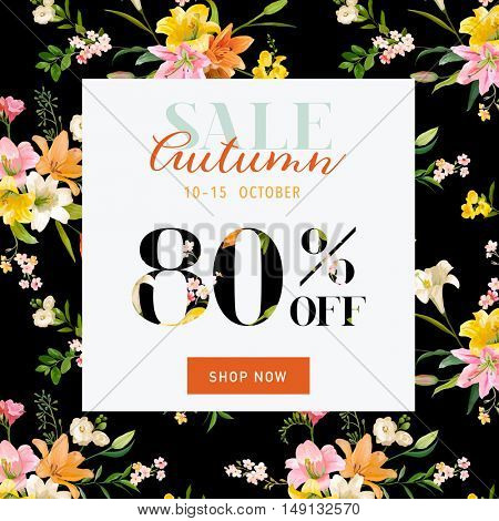 Autumn Sale Hortensia Banner - for Discount Poster, Fashion Sale, Market Offer - in vector