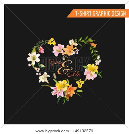 Vintage Floral Graphic Design - Summer Lily Flowers - for T-shirt, Fashion, Prints - in Vector