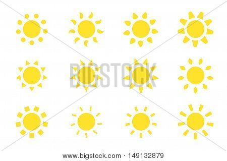 Vector sun icons set. 12 different icons for your design and ideas.
