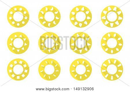 Vector sun icons set. Flat design. 12 different icons for your design and ideas.