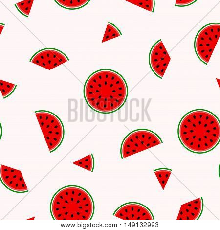 Bright pattern with slices of watermelon - seamless vector background.