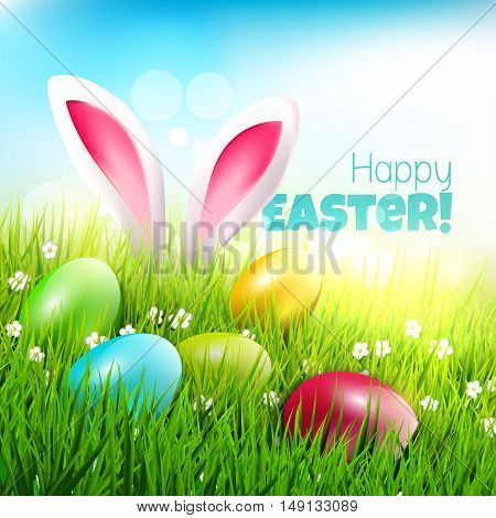 Easter greeting card with eggs and rabbit ears sticking out of the grass - vector illustration