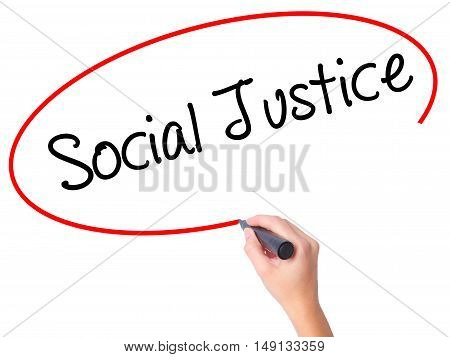 Women Hand Writing Social Justice With Black Marker On Visual Screen