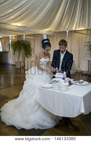 Beauty bride and handsome groom are cutting a wedding cake. Couple in the restaurant with colorful pie. Beautiful model girl in white dress. Man in suit. Female and male portrait. Cute lady and guy