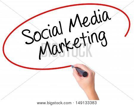 Women Hand Writing Social Media Marketing With Black Marker On Visual Screen