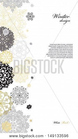Winter silver abstract design with gold and white snowflakes and stars and white background. Trend golden design. Vertical border and text place. Vector illustration.