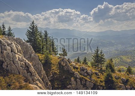 Peaceful sunny morning mountain landscape in the Bran-Rucar pass Transylvania region Romania. Picturesque travel destinations.