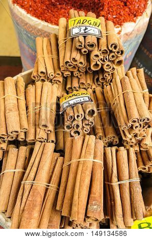 Typical Cinnamon Sticks In Istambul, Turkey