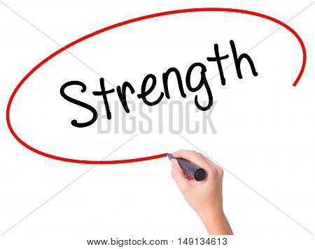 Women Hand Writing Strength With Black Marker On Visual Screen