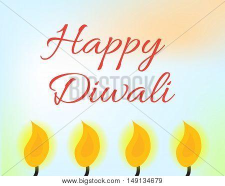 Happy Diwali Indian Festival of Lights. Diwali greeting card invitation. Vector illustration