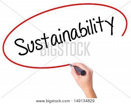 Women Hand Writing Sustainability  With Black Marker On Visual Screen
