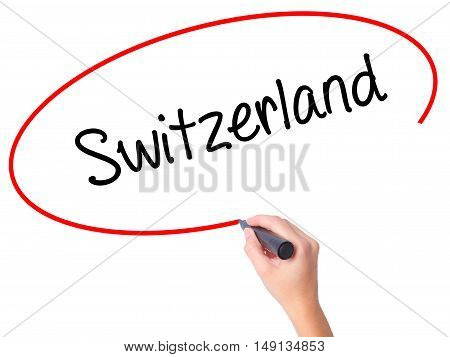 Women Hand Writing Switzerland  With Black Marker On Visual Screen