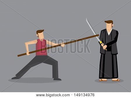 Cartoon vector illustration of man using Chinese staff weapon long gun sparring with man in Japanese Kendo uniform using Samurai sword katana isolated on grey background.