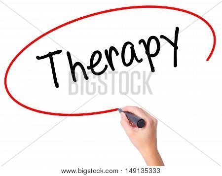 Women Hand Writing Therapy  With Black Marker On Visual Screen