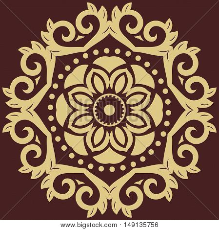 Elegant vector round golden ornament in the style of barogue. Abstract traditional pattern with oriental elements