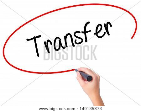 Women Hand Writing Transfer With Black Marker On Visual Screen