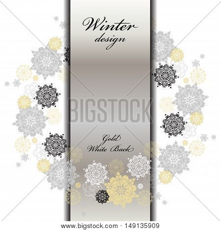Winter silver circle wreath background with gold and white snowflakes and stars and light background. Round frame silver design. Vertical center border stripe and text place. Vector illustration.
