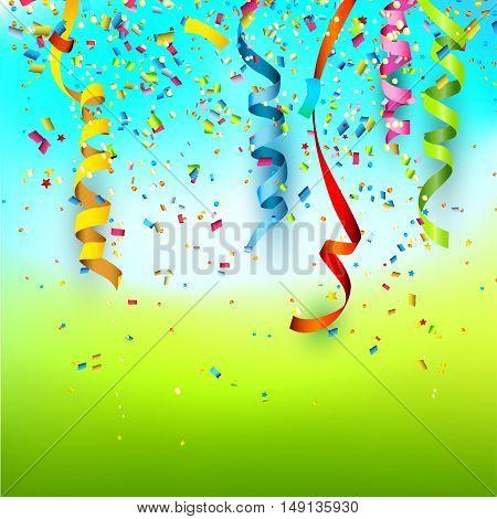Birthday background with colorful confetti and streamers