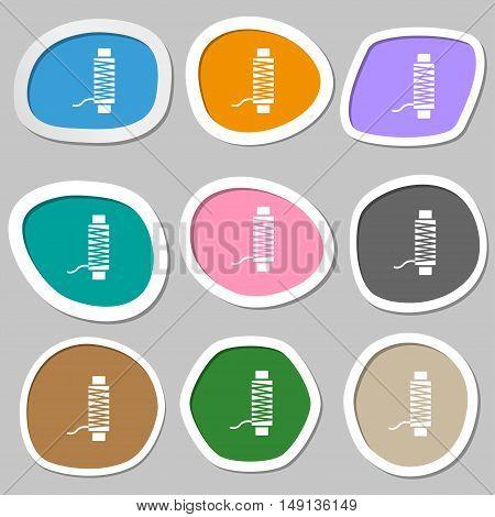 Thread Icon Symbols. Multicolored Paper Stickers. Vector