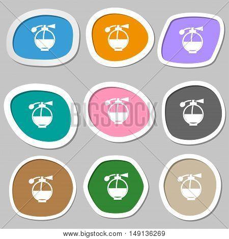 Perfume Icon Symbols. Multicolored Paper Stickers. Vector