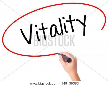 Women Hand Writing Vitality  With Black Marker On Visual Screen.