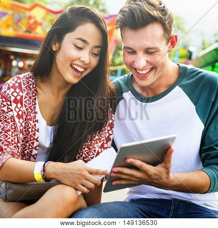 Couple Dating Relaxation Love Theme Park Concept