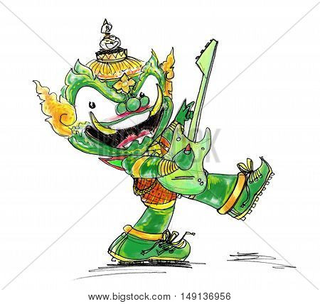 Thai Giant Green color Playing electric guitar character Design cute and funny isolate.