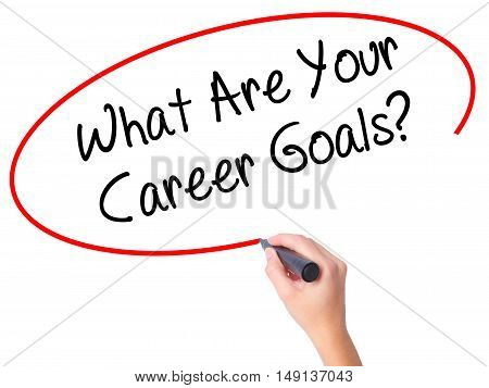 Women Hand Writing What Are Your Career Goals? With Black Marker On Visual Screen