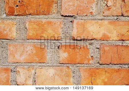 Cracked concrete brick wall background rough, dirty, aged, ruins,
