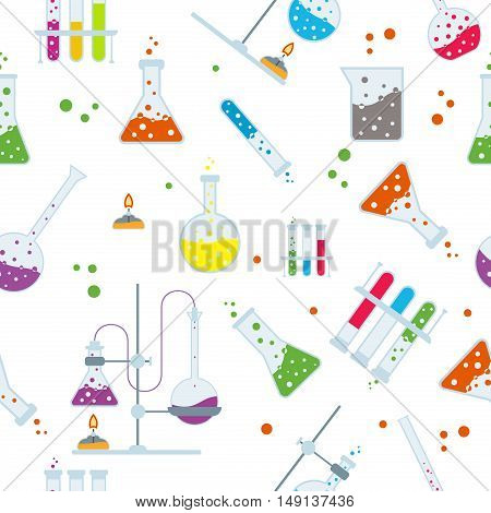 Seamless pattern of scientists lab flask science education, laboratory flasks and plants, physical and chemical formulas and vector of DNA and atom, experiment results and magnets. Lab flask pattern.