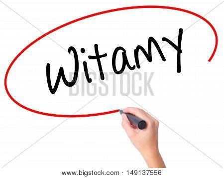 Women Hand Writing Witamy (welcome In Polish) With Black Marker On Visual Screen.