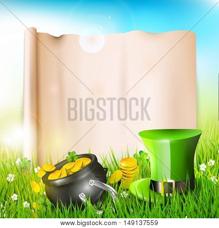 St Patrick's Day - vector background with old paper in the grass