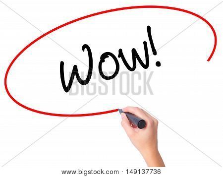 Women Hand Writing Wow! With Black Marker On Visual Screen