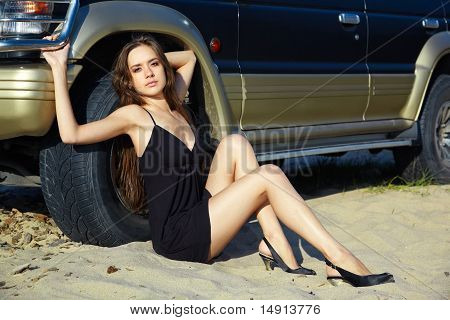 Girl And Off-road Car